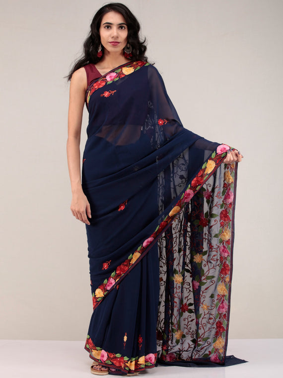 Dark Blue Aari Embroidered Georgette Saree From Kashmir - S031704646