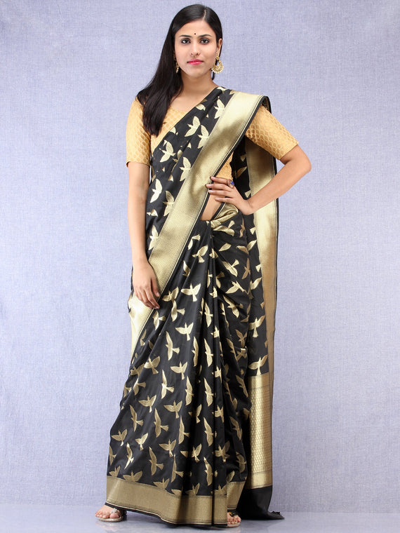 Banarasee Art Silk Saree With Bird Motif - Black & Gold - S031704330