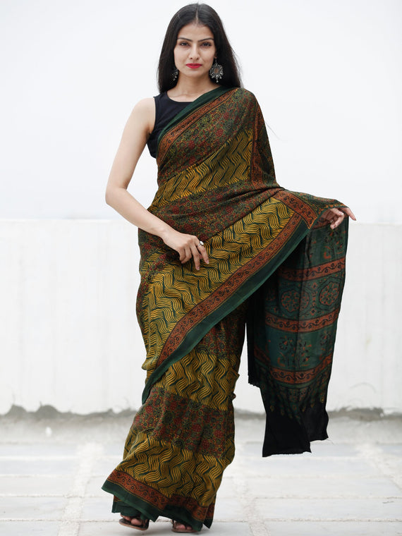 Green Yellow Maroon Ajrakh Hand Block Printed Modal Silk Saree in Natural Colors - S031703717