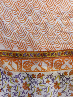 White Rust Orange Purple Cotton Hand Block Printed Dupatta - D04170190