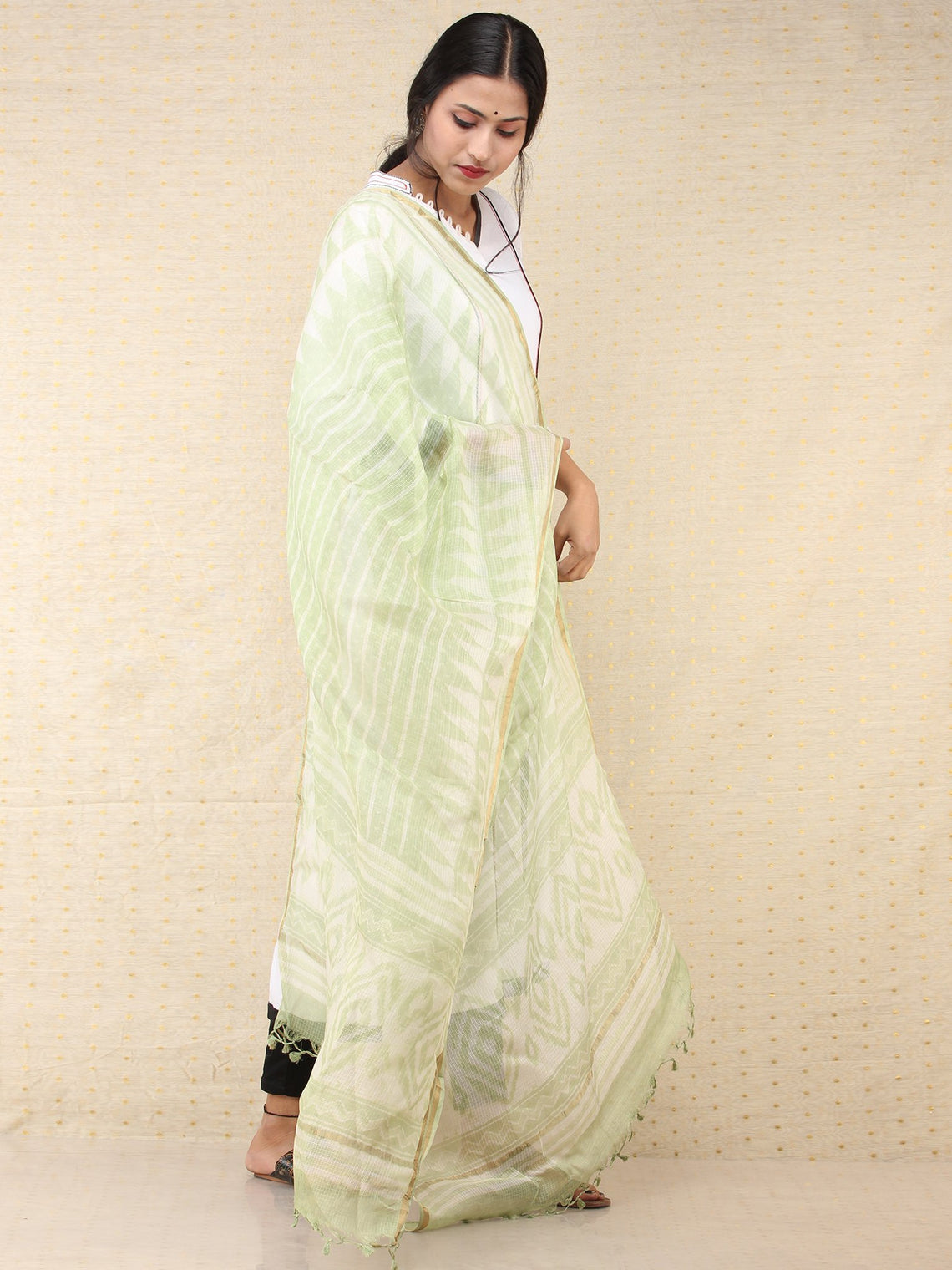 Light Green White Gold Kota Silk Hand Block Printed Dupatta - D04170712