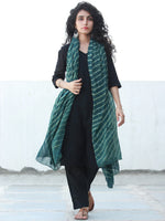 Green Ivory Cotton Hand Block Printed Dupatta  - D04170471