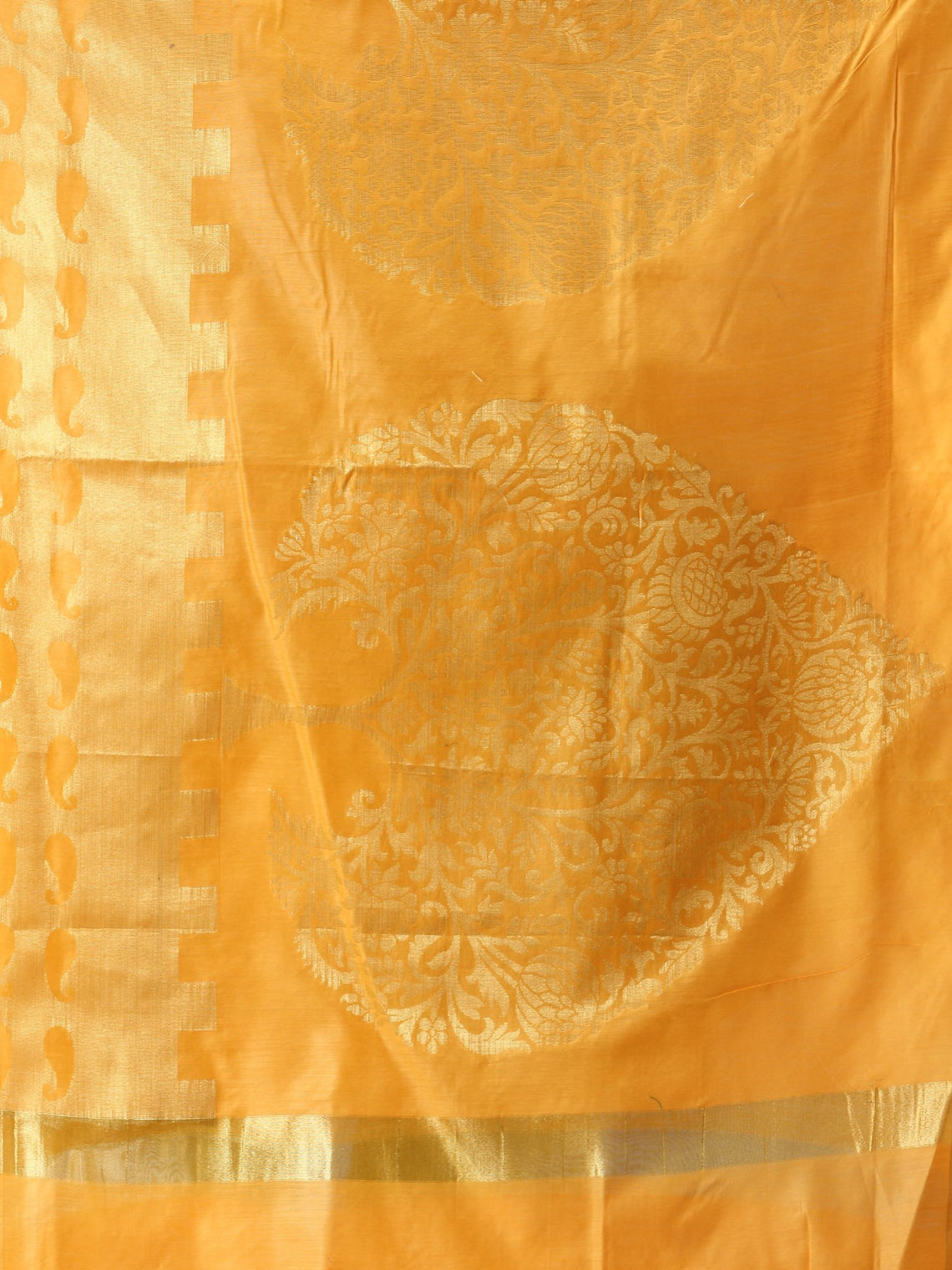 Banarasi Chanderi Dupatta With Resham Work - Yellow & Gold - D04170813