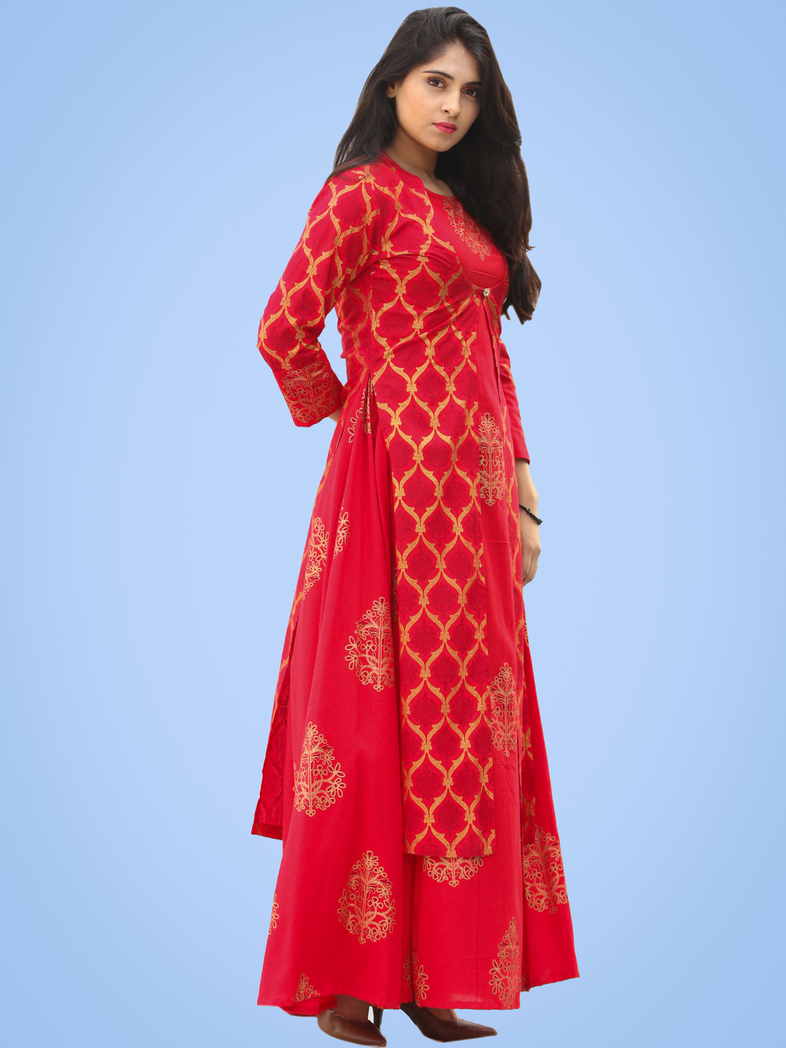 Jina - Red Gold Block Printed Long Cape Dress - D400FYYYY