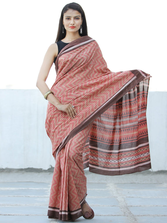 Peach Brown Hand Block Printed  Cotton Mul Saree - S031703977
