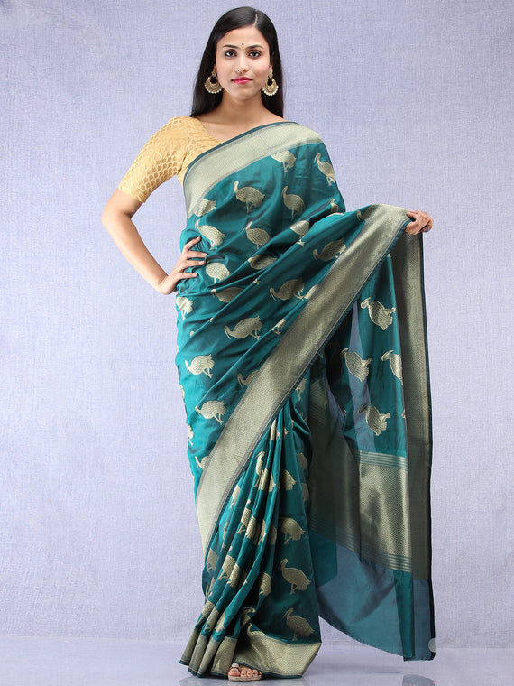 Banarasee Art Silk Saree With Bird Motif - Green & Gold - S031704331