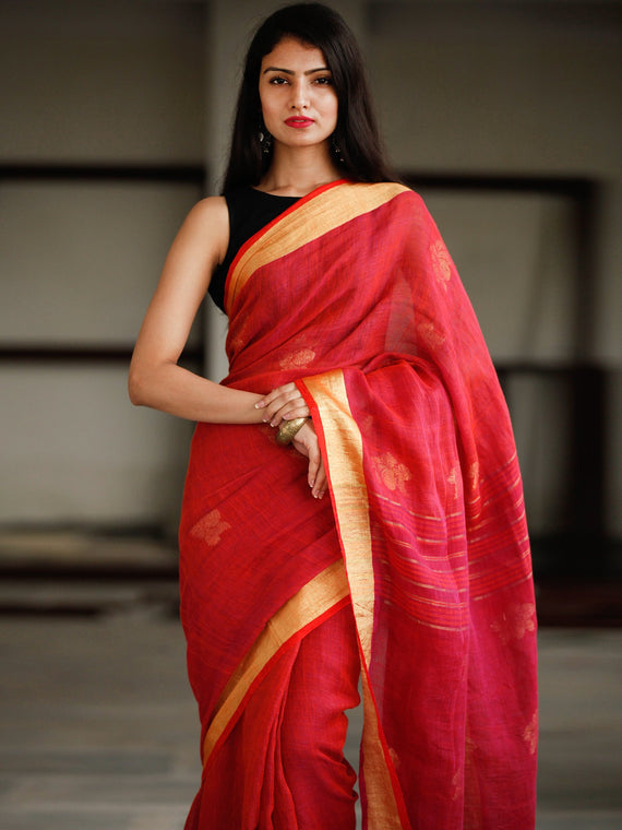 Red Golden Handwoven Linen Jamdani Saree With Zari Border & Tassels - S031703796