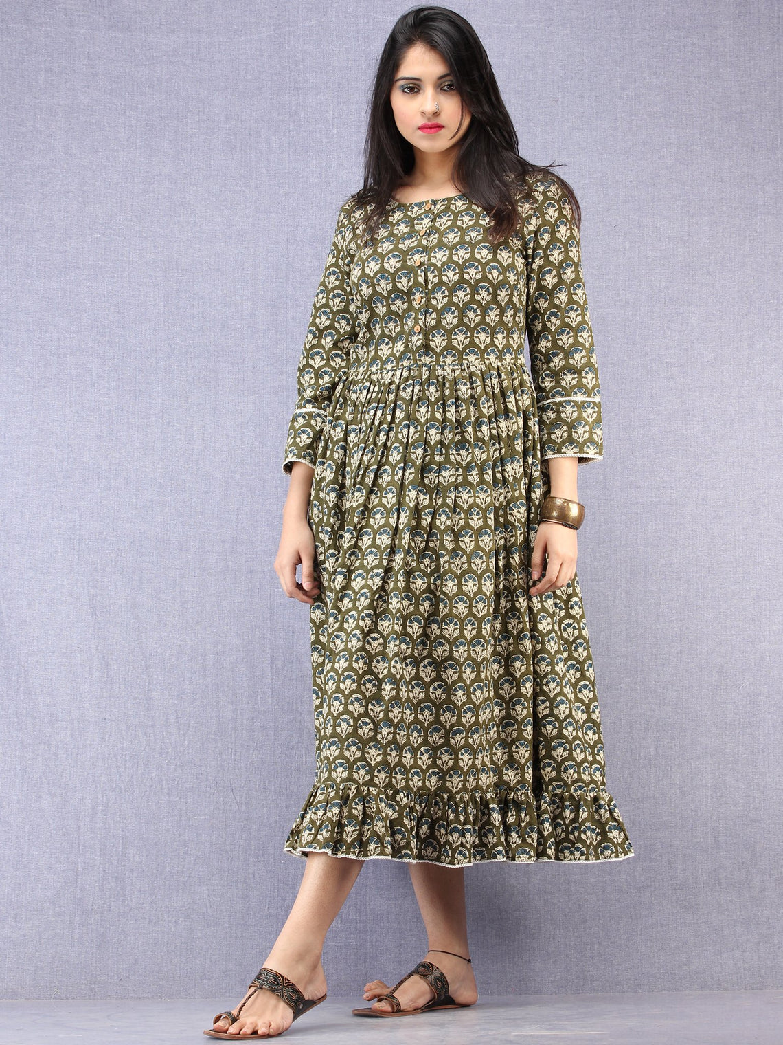 Hena - Hand Block Printed Short Cotton Dress  - D392F1738