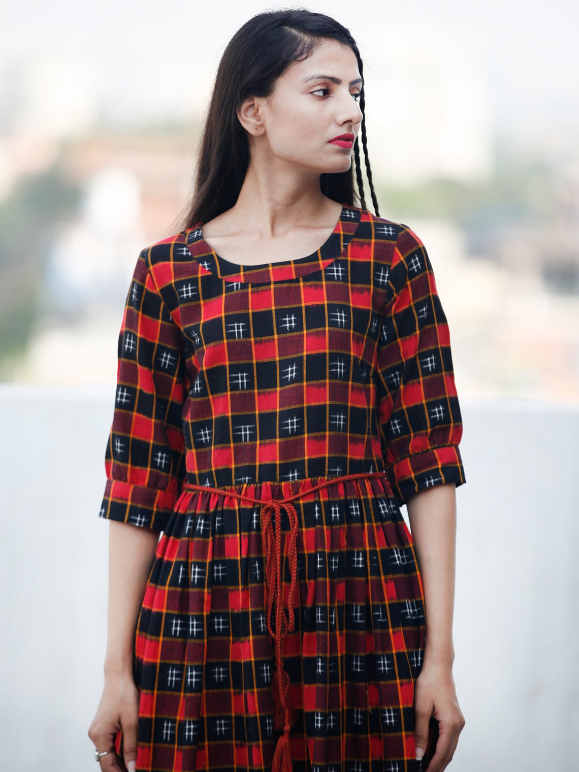 CHECK BOARD - Handwoven Double Ikat  Dress With Tassels - D332F822