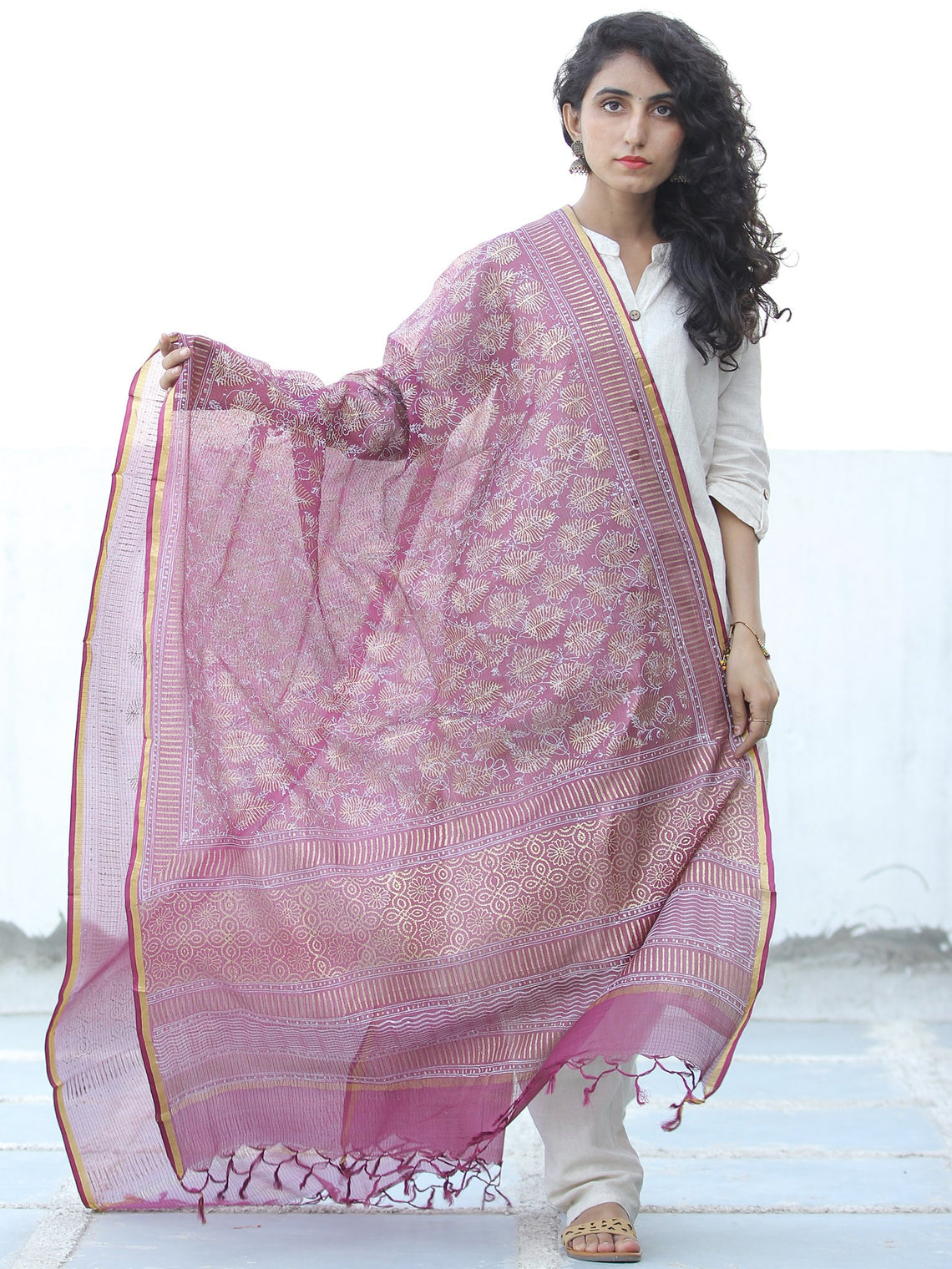 Onion Pink Golden Kota Silk Hand Block Printed Dupatta - D04170653