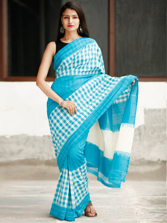 Sky Blue White Ikat Handwoven Cotton Saree - S031704052