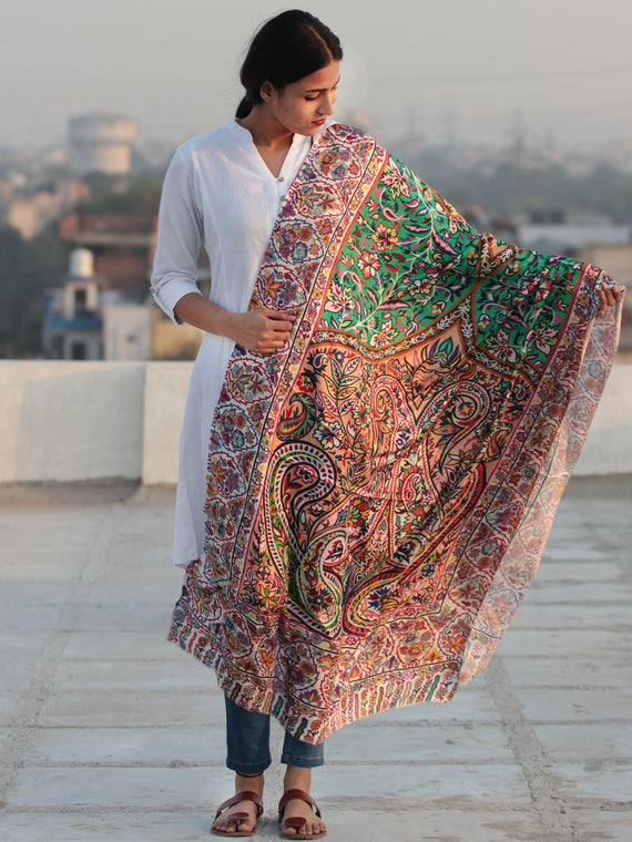 Ivory Multi Color Digital Print Modal Silk Woollen Kashmiri Shawl - S200530