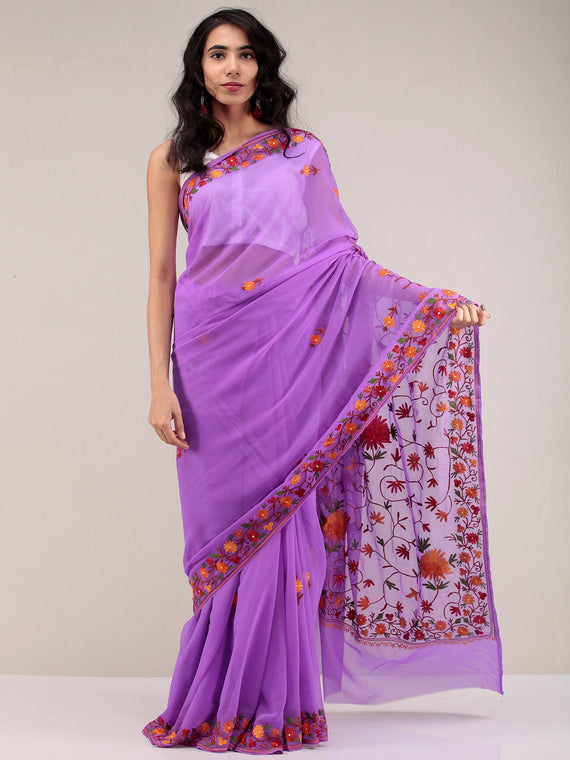 Purple Aari Embroidered Georgette Saree From Kashmir - S031704648