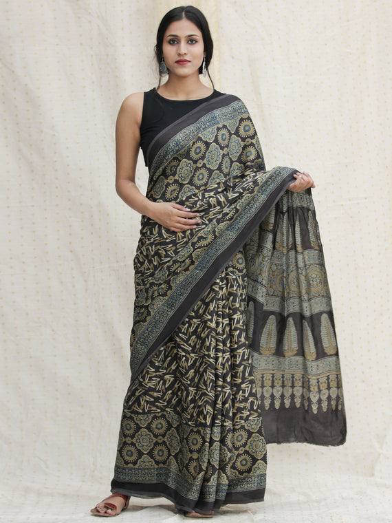 Charcoal Black Indigo Olive green Ajrakh Hand Block Printed Modal Silk Saree - S031704139