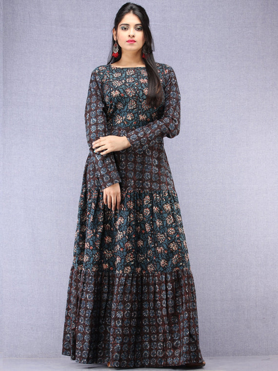 Nazafarin - Hand Block Printed Long Cotton Tier Dress - D95F1346