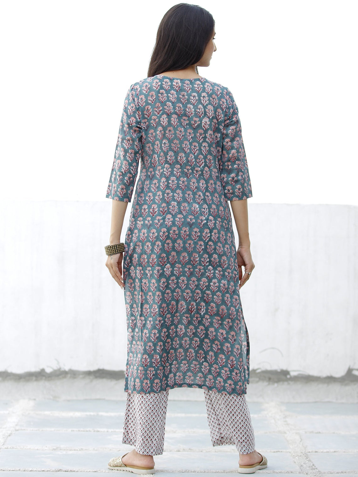 Pastel Motif - Hand Block Printed Kurta & Pants - Set of 2 - SS01F069
