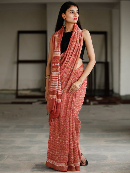 Dark Peach Ivory Hand Block Printed Handwoven Linen Saree With Zari Border - S031703798
