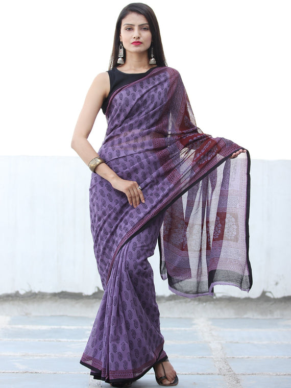 Purple Black Red Maroon Bagh Hand Block Printed Kota Doria Saree - S031703896