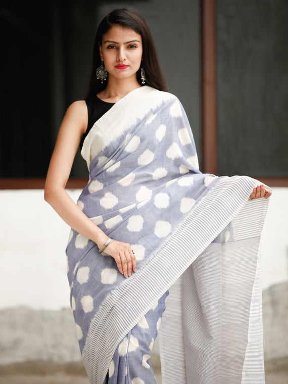 Steel Blue White Grey Ikat Handwoven Cotton Saree - S031704049