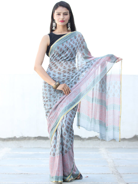 pastel Blue Pink Hand Block Printed Chiffon Saree with Zari Border - S031703938