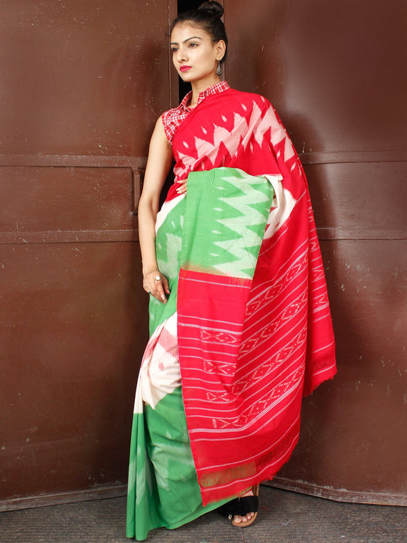 Red Green Off White Double Ikat Handwoven Cotton Saree - S031703662