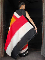 Black Red White Orange Ikat Handwoven Cotton Saree - S031703635