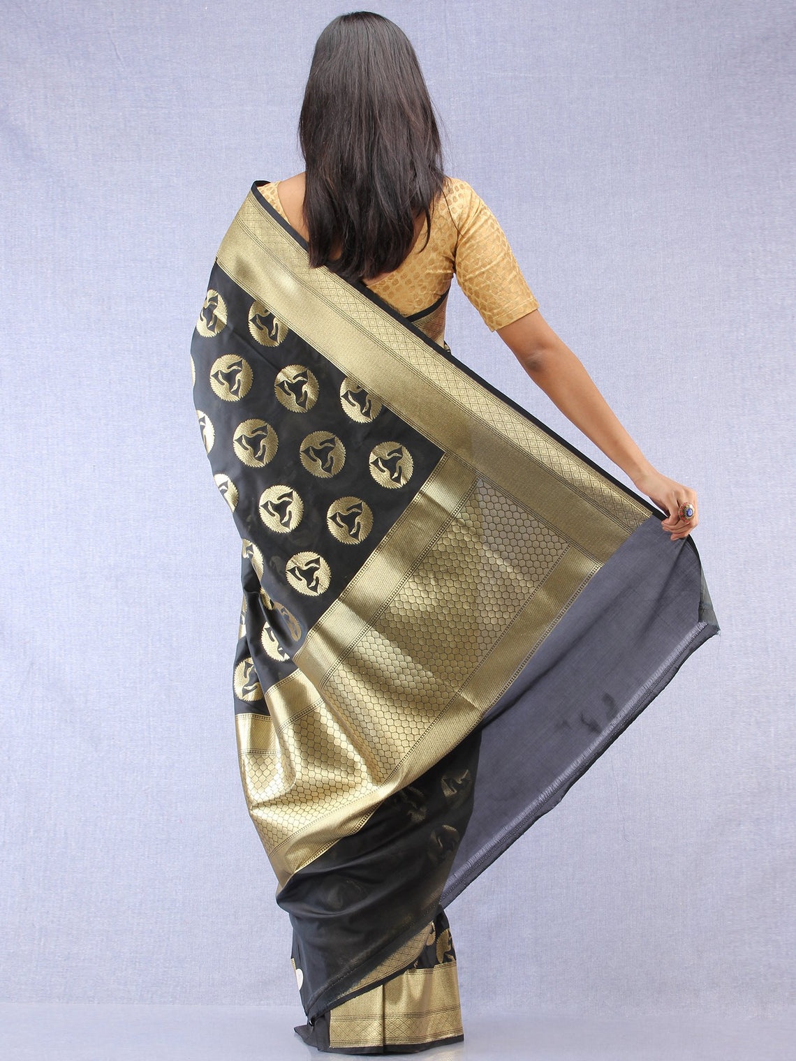 Banarasee Art Silk Saree With Bird Motif - Black & Gold - S031704333