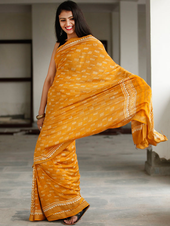 Golden Yellow Ivory Hand Block Printed Handwoven Linen Saree With Zari Border - S031703799