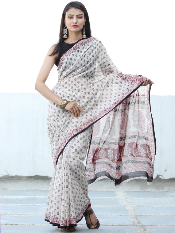 White Black Red Bagh Hand Block Printed Kota Doria Saree - S031703899