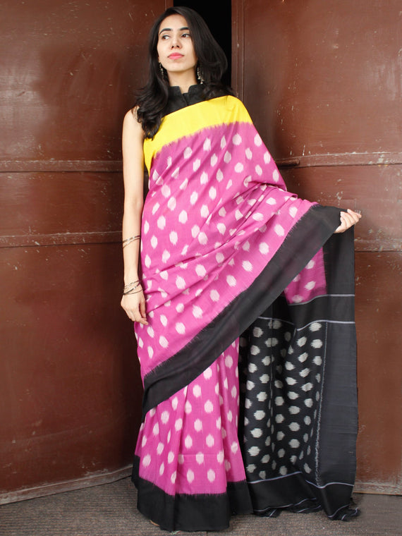 Lavender Black Yellow Double Ikat Handwoven Mercerised Cotton Saree With Ganga Jamuna Border - S031703663