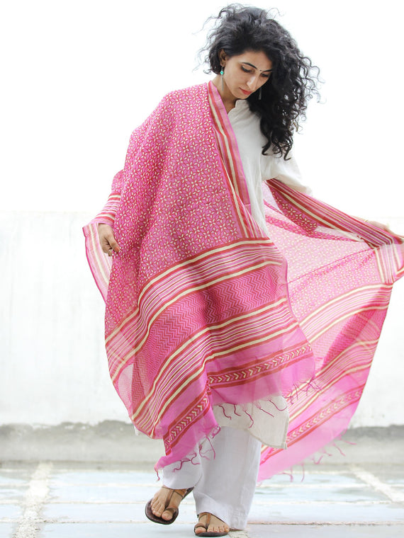Pink Yellow Red Chanderi Hand Block Printed Dupatta - D04170324