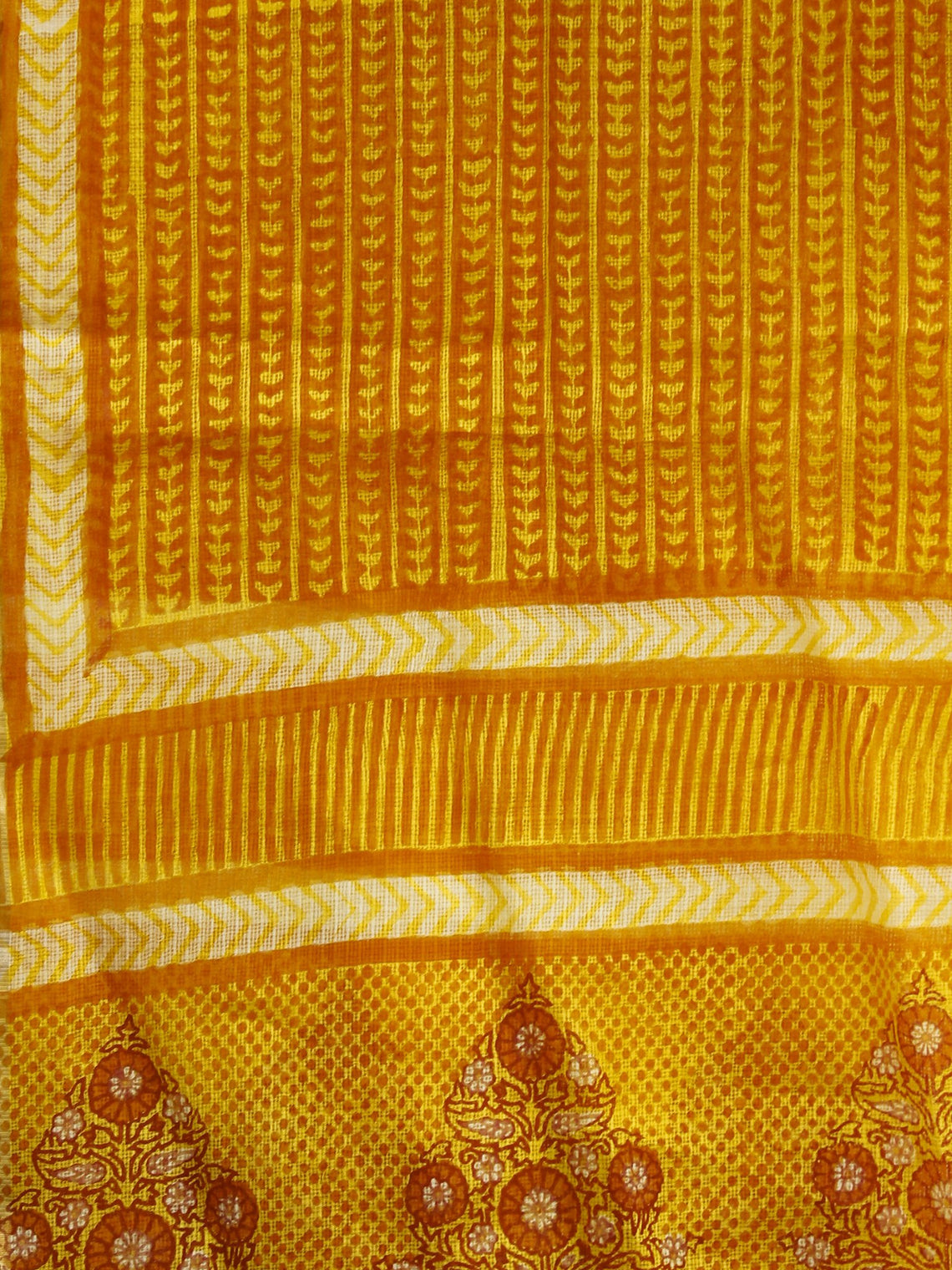 Yellow Orange Ivory Kota Silk Hand Black Printed Dupatta - D04170194