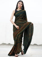 Green Maroon Yellow Ajrakh Hand Block Printed Modal Silk Saree in Natural Colors - S031703721