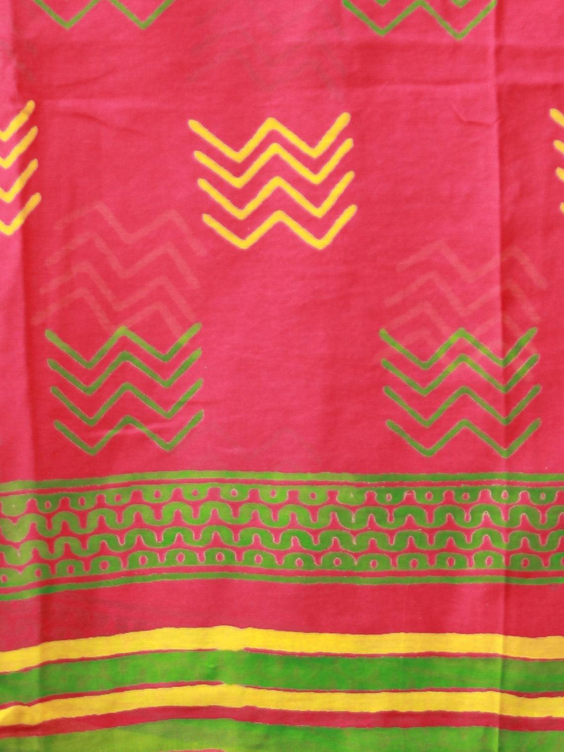 Crimson Yellow Green Chanderi Hand Block Printed Dupatta - D04170474