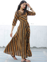SYMMETRICALLY ASYMMETRIC -  Hand Block Printed Front Open Cotton Dress  - D79F1725