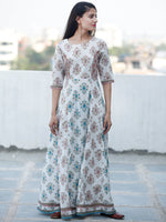 Cool Breeze - Block Printed Long Cotton Kali Dress - D352F1888
