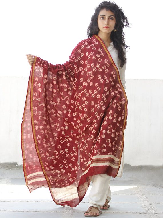 Cherry Red Ivory Chanderi Hand Block Printed Dupatta - D04170538