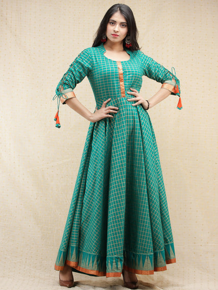 Nazma - Sea Green Gold Checks Printed Long Urave Cut Dress - D378F1996