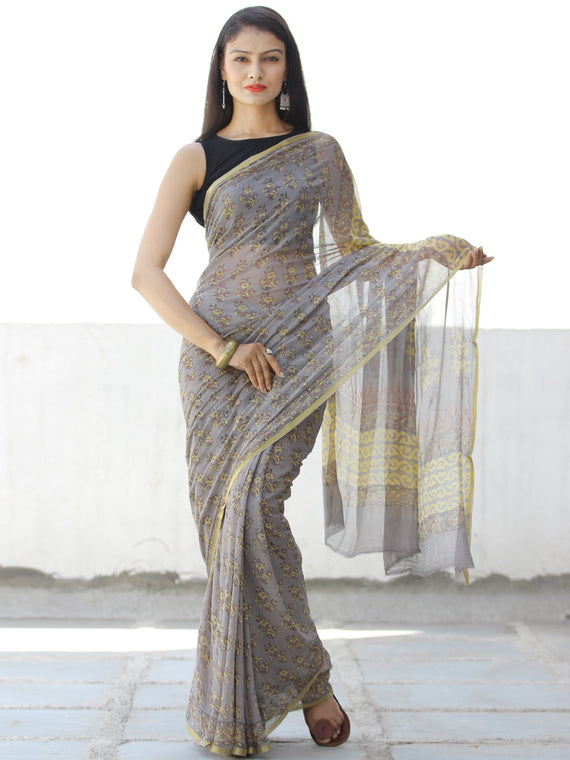 Grey Yellow Hand Block Printed Chiffon Saree with Zari Border - S031703955