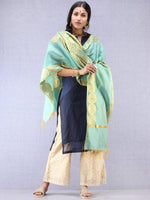 Banarasi Chanderi Dupatta With Zari Work - Light Green & Gold - D04170791