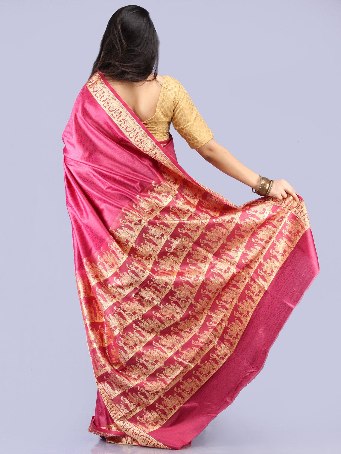 Banarasee Semi Silk Self Weave Saree With Resham Border - Plum & Golden - S031704289