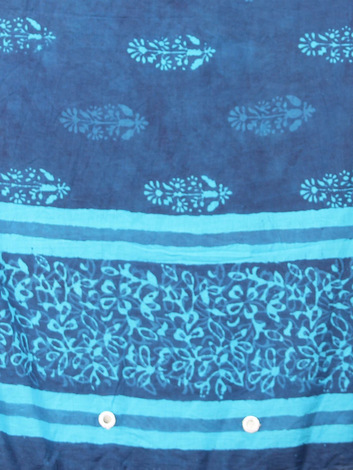 Indigo Sky Blue Cotton Hand Block Printed Dupatta With Mirror Work - D04170396