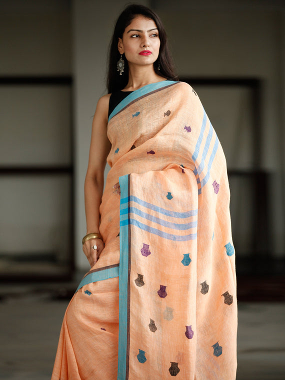 Peach Blue Handwoven Linen Jamdani Saree With Pot Motif - S031703773