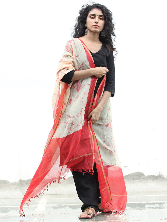 Beige Red Kota Silk Hand Block Brush Printed Dupatta - D04170447