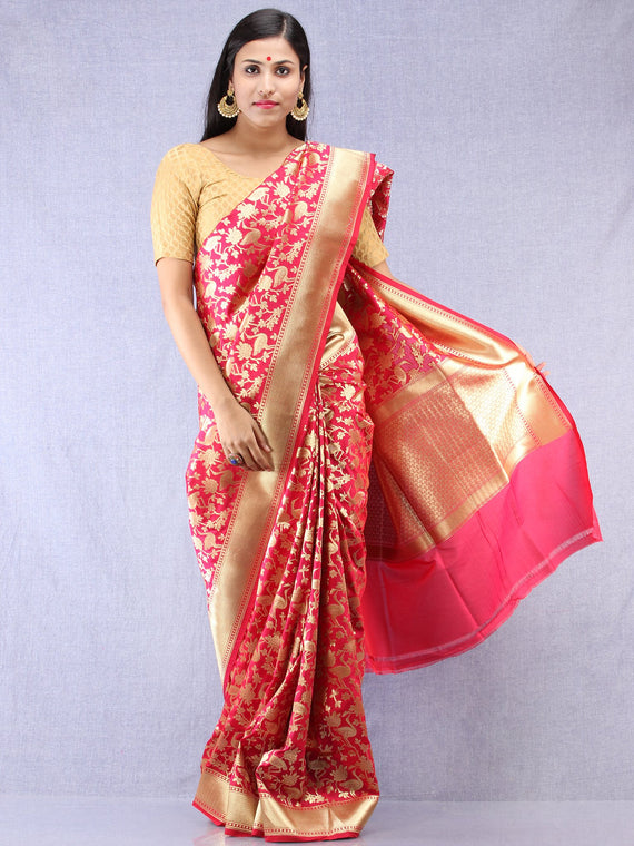 Banarasee Art Silk Saree With Bird Motif - Magenta & Gold- S031704335