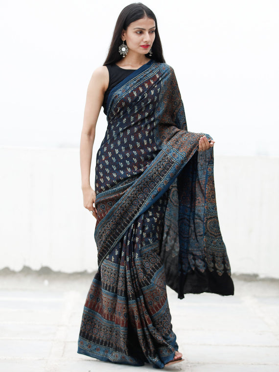 Indigo Black Ivory Rust Ajrakh Hand Block Printed Modal Silk Saree in Natural Colors - S031703722