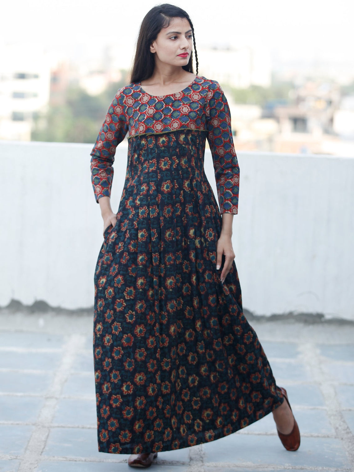 Indigo Black Rust Green Hand Block Printed Long Cotton Dress - D340F1820