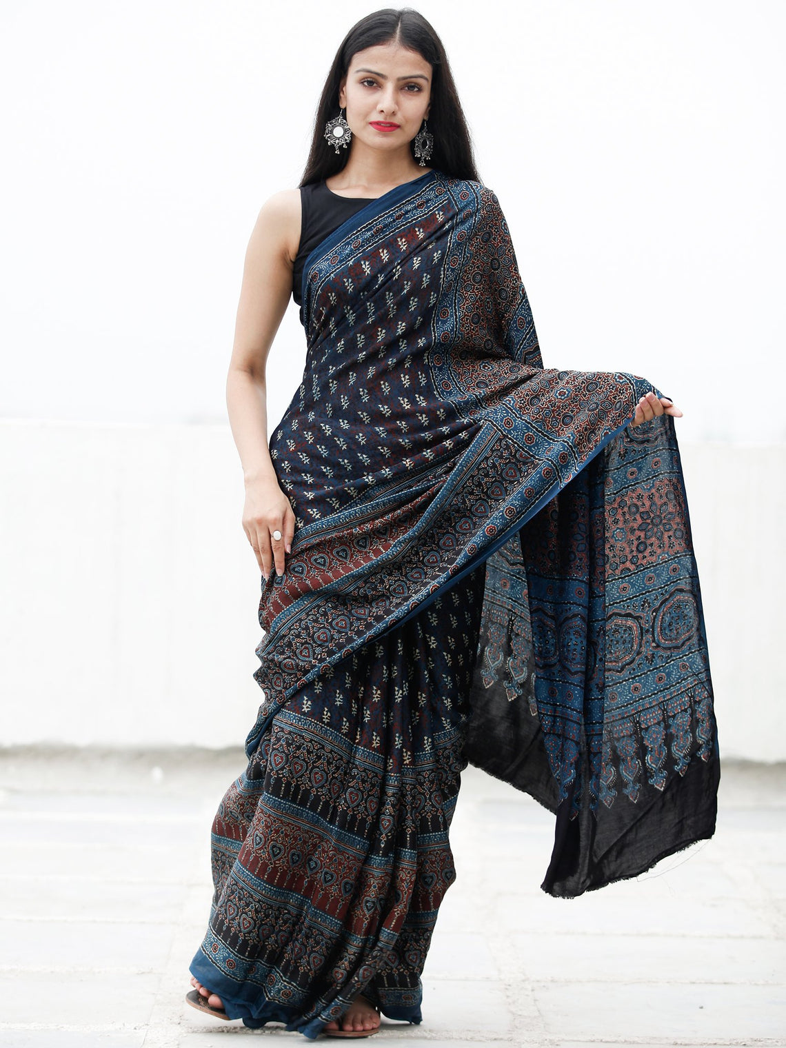 8ebe81e404559 ... Indigo Black Ivory Rust Ajrakh Hand Block Printed Modal Silk Saree in Natural  Colors - S031703722 ...
