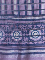 Lilac Blue Silver Cotton Silk Hand Block Printed Dupatta - D04170476