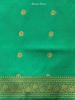 Banarasee Art Silk Self Weave Saree With Zari Work - Red Green & Gold - S031704432